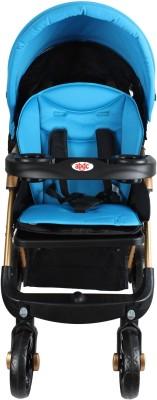 abdc kids Baby Pram Stroller Adjustable Handlebar Golden frame Dual Brakes (Blue)