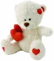 Grabadeal Feet Sitting Double Heart Teddy Bear - 18 Inch (White)