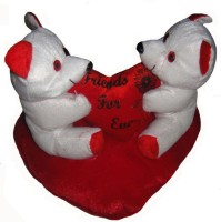 Shree Krishna Teddy Bears With Heart  - 8 Inch (Red, White)