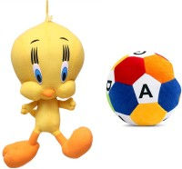 MGPLifestyle Combo Of Yellow Soft Plush Tweety & Soft Toy Ball  - 10 Cm (Multicolor)