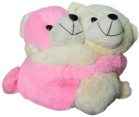 Tiny Tickle Cute Beige & Pink Cuddling Couple Teddy Bear Soft Toy For Kids - Size Small  - 25 (Multicolor)