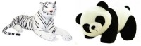 VRV Soft Toy Combo Of Panda And White Tiger 35 Cm With Tail.  - 20 Cm (White, Black)