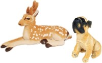 Unica Stuffed Soft Toy Combo Of Deer And Dog  - 49 Cm (Brown)