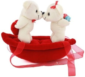 Natkhat Kissing Couple Teddy On Boat - 20 cm
