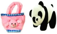 Atc Toys Panda With Pink Pen Stand Combo  - 26 Cm (White, Black, Pink)