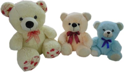 Play Toons Teddy Bear Set Of-3  - 12 Inch (Multicolor)