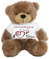 Grabadeal Big Teddy Bear Wearing A Will You Be My Valentine T-shirt - 24 Inch (Brown)