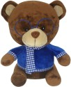 Soft Buddies Bear with Blue Glass  - 13 inch - Brown
