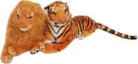 Oril Set Of 2 Adorable Tiger & Lion  - 10 Inch (Brown)