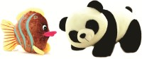 Skylofts Cute 45cm Panda & A Fluffy Fish Soft Toys Combo  - 30 Cm (White, Black)