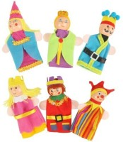 Kuhu Creations King, Queen Family Wooden Finger Puppet  - 7 Cm (Multicolor)