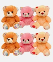 My Dress My Style Set Of 6 Cute Teddy Bear  - 7 Inch (Brown, Yellow, Pink)