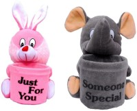 Atc Toys Pink Grey Pen Stand Soft Toy Pack Of 2  - 7 Cm (Pink, Grey)