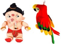 VRV Soft Toy Combo Of Beige Furr And Cloth Soft Ganesha And Musical Colourful Parrot  - 25 Cm (Multicolour)
