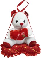 Galaxy Store Musical Hanging Teddy Bear Sitting On Heart  - 14 Inch (Red, White)