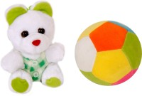 Lehar Toys Teddy And Ball  - 12 Cm (Green)