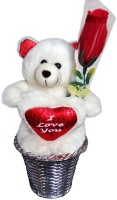 Luxury Gifts By Nikki Valentine's Cute Loving Teddy Bear  - 6 Inch (White, Red)