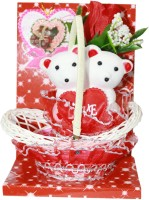 Odishabazaar Romantic Couple Teddy Bear With Red Heart Sitting On Basket  - 7.5 (multicolor)