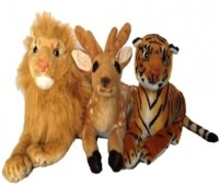 HMS Perfect Gift For Kids Combo Of Tiger, Lion And Deer Plush Soft Toy - 30 Cm With Love  - 30 (Brown)