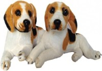 SCG Big And Small Cute White Brown Dog Combo  - 40 Cm (White)