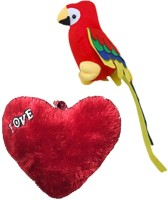 Atc Toys Musical Parrot & Red Heart Soft Toy  - 12 (Red, Yellow)