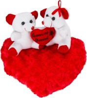 Fashion Knockout Fk White Couple Teddy On Blooming Red Heart  - 11 Inch (Red)