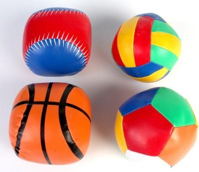 Pigloo Set Of 4 Colorful Soft Mini Sports Ball Stuffed Toys  - 4.3 Inch (Multicolor)
