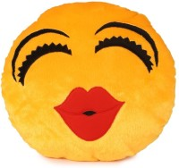 Deals India Kiss Soft Kiss Smiley Cushion  - 35 Cm (Yellow)