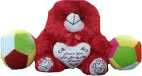Ekku Combo Of Red Teddy And Two Balls  - 12 Inch (red, Green)