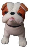 SHREE JI ENTERPRISES Brown And Beige Soft Hutch Dog  - 21 Cm (White And Brown)