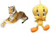 MGPLifestyle Multicolour Combo Of Tiger Soft Toy And Tweety  - 10 Cm (Multicolor)
