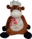 Play N Pets Animal Soft Toy - Cow  - 13.77 inch - Dark Brown