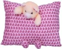 E Soft Purple Fancy Pillow With Teddy Hanging  - 4 Inch - Purple