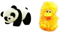 Tanisi Panda Soft Toy (26 Cm) And Yellow Musical Duck Combo  - 26 Cm (White, Black, Yellow)