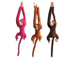 Silvosky Long Tail Monkey Set Of 3  - 70 Cm (Multicolor)