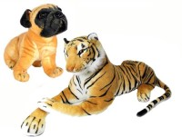 Ewi Beautiful Soft Touch Tiger & Dog Combo (pack Of 2)  - 26 Cm (Multicolors)