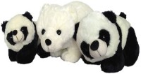 SCG High Quality Cute One Big Polar Bear And Two Panda Combo  - 40 Cm (White)