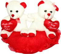 Scrazy Cute Lovely Couple Teddy Bear For Your Valentines  - 20 Cm (Off White, Red)