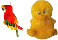 Deals India Set Of Musical Duck N Parrot Soft Toys  - 30 Cm (Red, Yellow)
