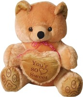 GRJ India 10 Inches Teddy Bear With Heart  - 10 Inch (Brown)
