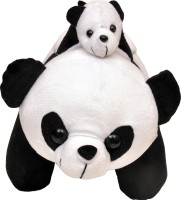 Tabby Cute & Careing Panda With Baby Soft Toy  - 24 Cm (White, Black)