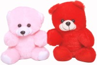 Oril Set Of Cute Soft Teddy Bear  - 7 Inch (Red, Pink)