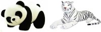 Atc Toys Panda Soft Toys & White Tiger Combo  - 26 Cm (White, Black, Brown)