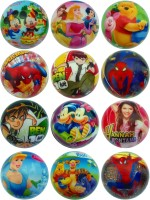 Lolprint Cartoon Characters Soft Ball - Pack Of 12  - 4 Inch (Multicolor)