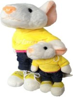 SCG High Quality Medium And Small Stuart Little Combo Soft Toy  - 25 Cm (White, Yellow)