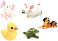 Meeras Soft Toys Combo Of 5 Animals -Bunny,Blackbrowndog,Elephant,Tortoise,Duck  - 30 Cm (Multicolor)