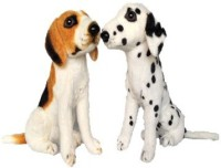 Chinmayi Cute White Brown And Dalmitian Dog Combo  - 32 Cm (Multicolor)