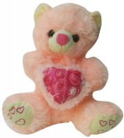 MFT Rose Heart Teddy L  - 18 Inch (Brown)