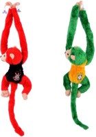 Deals India Whistling Monkey Soft Toy (Set Of 2)  - 12 Inch (Red, Green)