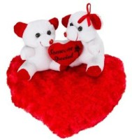 Ganpati Traders White Couple Teddy On Blooming Red Heart  - 11 Inch (WHITE)